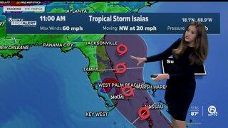 11 a.m. Thursday advisory on Tropical Storm Isaias