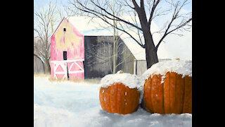 Painting Stills: Pumpkins in the Snow