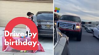 Isolated birthday girl delighted after surprise drive-by parade