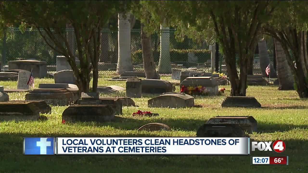 Local volunteers clean headstones of veterans at cemeteries
