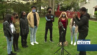 Cleveland school choir students performing NFL draft