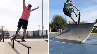 Inspirational Cancer Survivor Becomes Skilful One-Legged Skateboarder