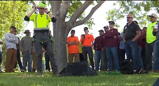 Workers, first responders participate in tree rescue training