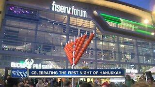 Celebrating the first night of Hanukkah