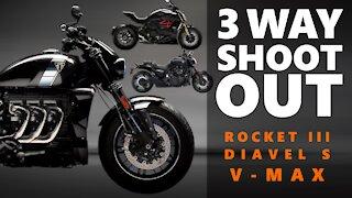 Triumph Rocket III [TFC] vs Ducati Diavel S vs V-MAX Yamaha SHOOT OUT