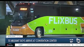 55 migrant boys arrive at San Diego convention center
