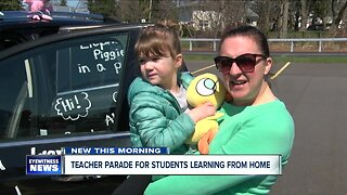 Teacher parade for students learning from home