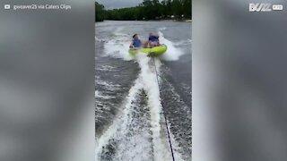 Muita adrenalina: jovem desmaia na boia em alta velocidade