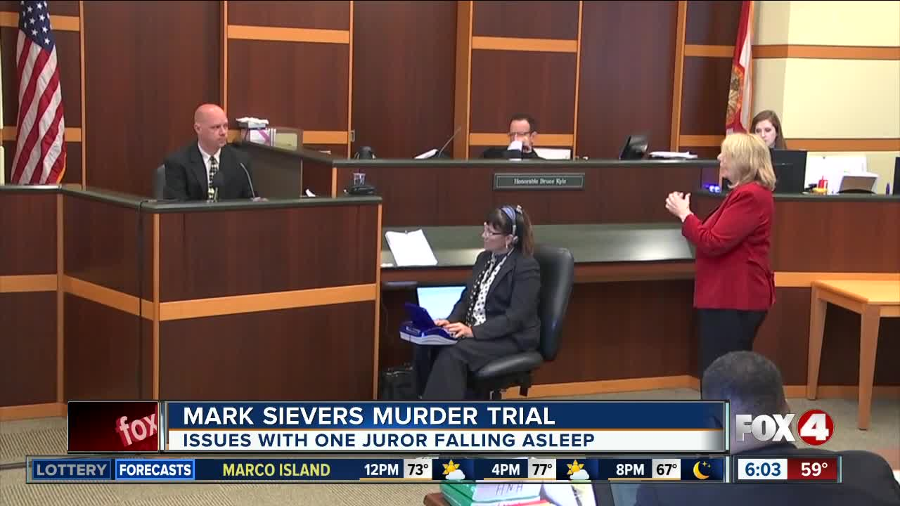 Judge concerned about juror falling asleep in Sievers trial