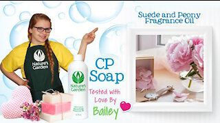 Soap Testing Suede and Peony Fragrance Oil- Natures Garden