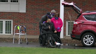 Family & friends welcome home father who had emergency heart surgery