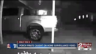 Porch pirate caught on home surveillance video