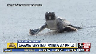 Teen's invention saves turtle hatchlings by keeping beaches clean