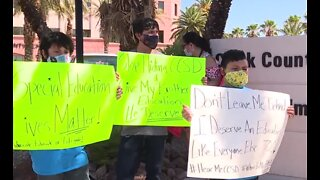 Protesting against CCSD virtual learning plan