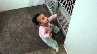 11-Month-Old Girl Climbs On Baby Gate With Ease