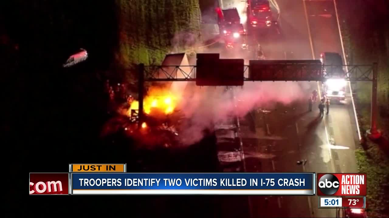 FHP releases identities of 2 people killed in fiery 8-vehicle crash on I-75
