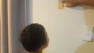 Dad pranks son to bang head against wall