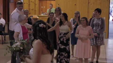Groom's great-grandmother catches bouquet at wedding