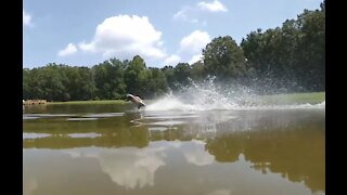 Traxxas Rustler Hydroplane Super Slow Motion!