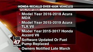 Honda recalls over 400K vehicles