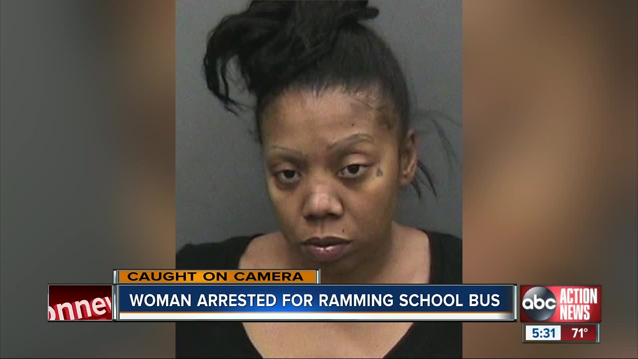 Florida woman arrested, charged after hitting school bus with her vehicle