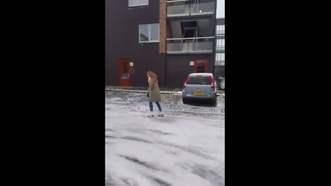 Ice skating on the frozen streets of Holland