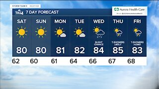 Saturday is sunny with highs in the 80s