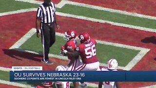 OU beats Nebraska with Riley-era low 23 points