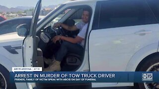 Tow truck driver's funeral same night as arrest is made on suspected killer