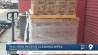 Teachers in Tucson receive cleaning wipes