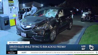 Driver killed while trying to run across San Diego freeway