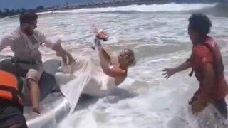 Bride falls from jet ski