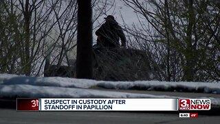 Suspect in custody after Papillion standoff