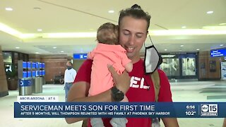 Serviceman meets son for first time