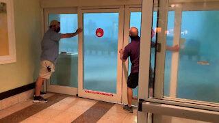 Thunderstorm Pushes Door Open At Hotel