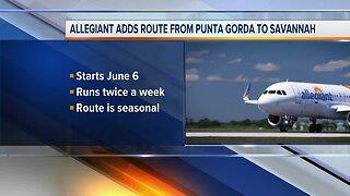 Allegiant adds new flight to Savannah from Punta Gorda