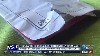 Thousands of dollars reported stolen from mail