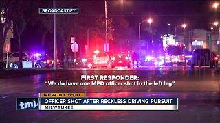 Officer shot after reckless driving pursuit