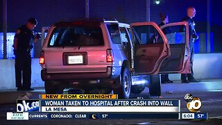 Driver hospitalized after crashing into wall in La Mesa