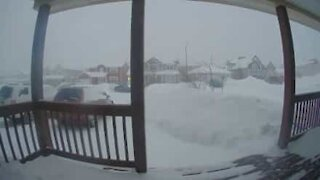 Time-lapse heavy snowfall in Canada