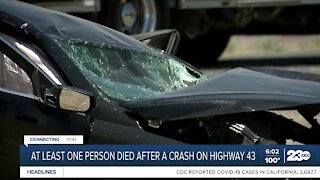 At least one person dead after crash on Highway 43