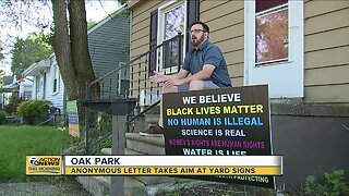 Anonymous letter takes aim at yard signs in Oak Park