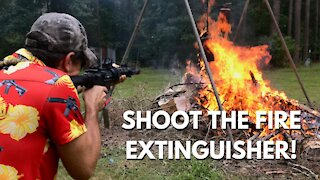Can You Put Out a Fire by SHOOTING a Fire Extinguisher!?!?