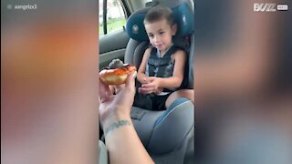 Dad scares son with spider donut