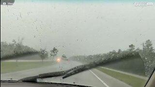 Lynet slår ned på motorvei og skremmer billistene
