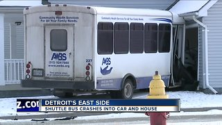 Bus crashes into house on Detroit's East Side