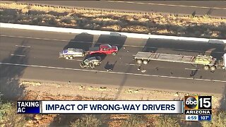 Wrong-way driver injured in 2-vehicle crash on Interstate 17