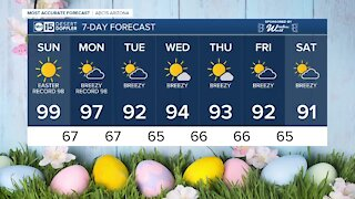 Flirting with triple-digit temperatures on Easter Sunday