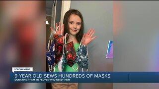 Metro Detroit 9-year-old sews hundreds of masks to donate