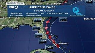 Hurricane Isaias strengthens a bit as it moves toward Florida's east coast